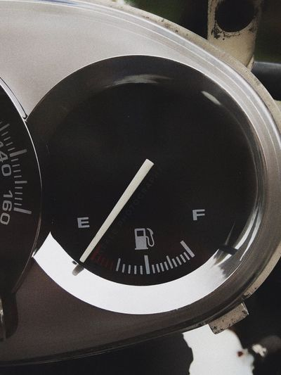 Number Text Time No People Communication Minute Hand Indoors  Close-up Clock Speedometer Day Clock Face Gauge Fuel Low Fuel Empty Gas No Fuel No Gas Motorcycle Automotive Automobile Indication