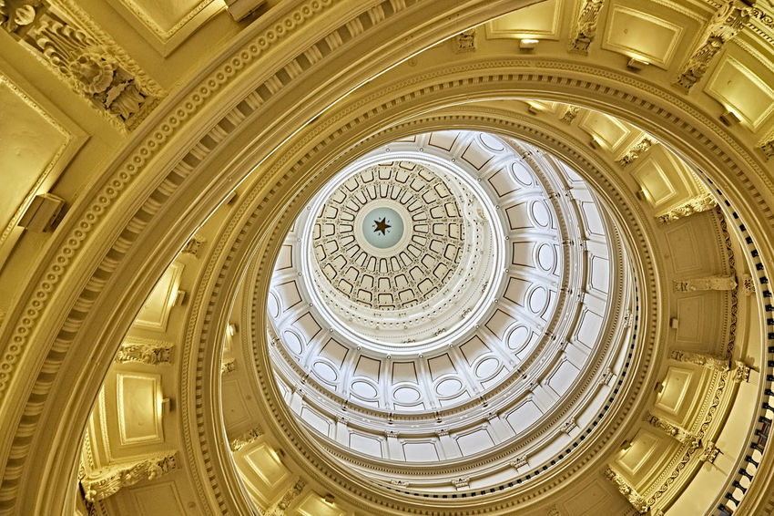 The Eye of Texas Architectural Feature Architecture Architecture And Art Building Exterior Built Structure Ceiling Circle Cupola Directly Below Dome Eye Geometric Shape Government Low Angle View Neo-classical No People Ornate Pattern Shape The Past Travel Destinations