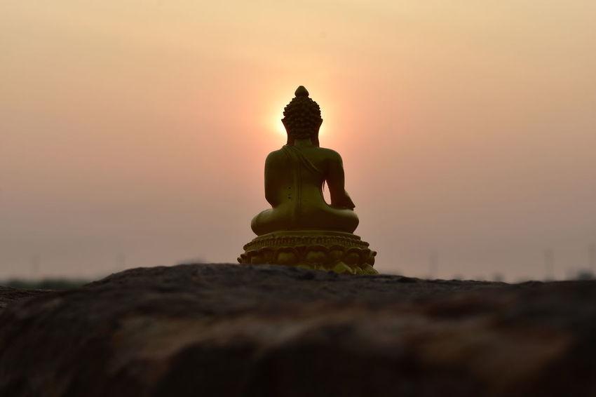 buddhist belief, Buddha statue, sitting Buddha image, Buddha Image In Morning Sunrise Statue Day No People Outdoors Sculpture Sky Sunrise