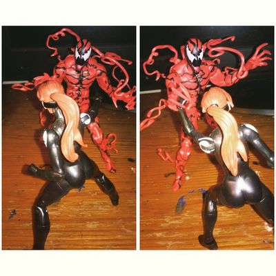 Spiderwoman honoring her father taking on the mighty carnage!! Carnage Geekingout Spiderwoman Spiderman Marvellengends Marvel Figurecollecting Sohappy Figurefight