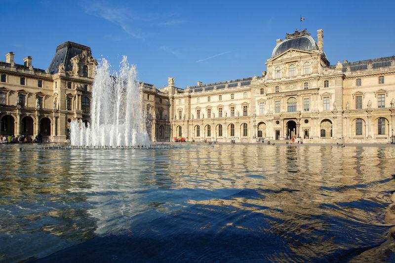 Architecture City Cityscape Fountain France History Landmark Louvre Louvre Museum Museum Musée Du Louvre Outdoors Palace Paris Pool Royal Sky Travel Travel Destinations