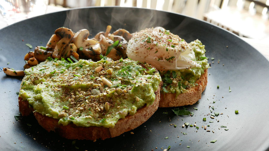 Poached Eggs  Smashed Avocado Steaming Avocado Bread Breakfast Close-up Day Food Food And Drink Freshness Gourmet Healthy Eating Indoors  Melbourne No People Plate Ready-to-eat Spread Toasted Bread