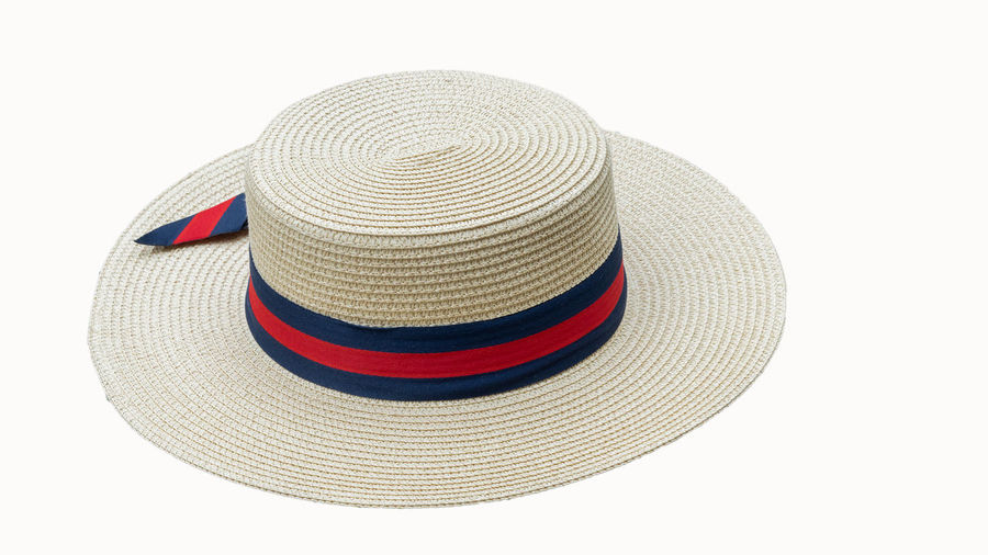 High angle view of hat on white background