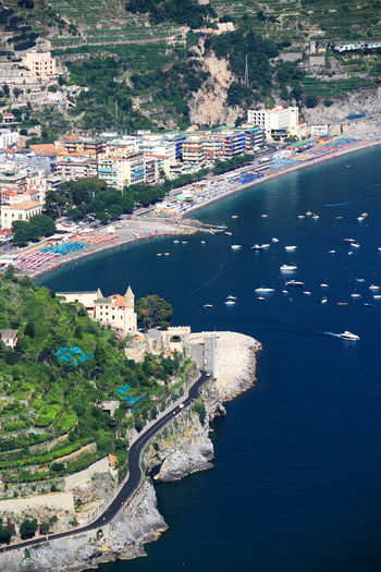 High angle view of buildings by sea at ravello