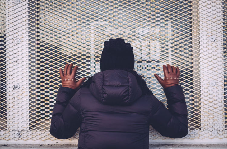 Cage Closed Closed Sign Door Gloves Jacket Toque  Turned Around Winter Woman
