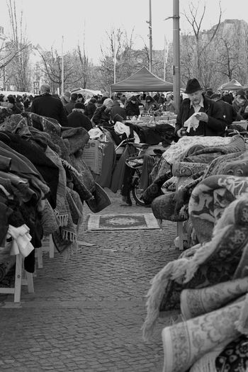 Abundance Bw Day Flewmarket Flohmarkt Heap In A Row Large Group Of Objects Order Outdoors Sack Schwarzweiß Sky Stack Transportation