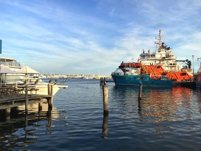 Boats Moored At Fremantle Fishing Boat Harbour