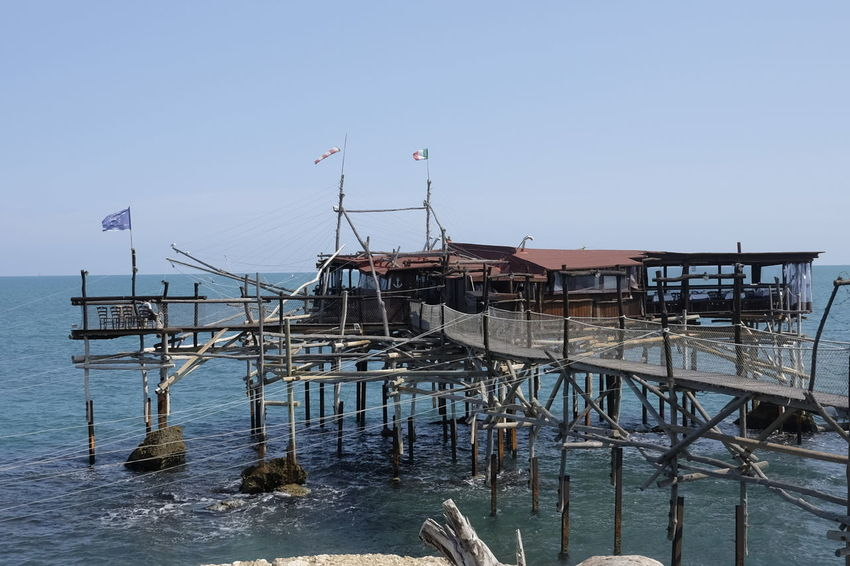 Overflow Architecture Beauty In Nature Building Exterior Built Structure Clear Sky Day Horizon Over Water Nature No People Outdoors Scenics Sea Sky Trabocco Punta Isolata Trebuchet Water