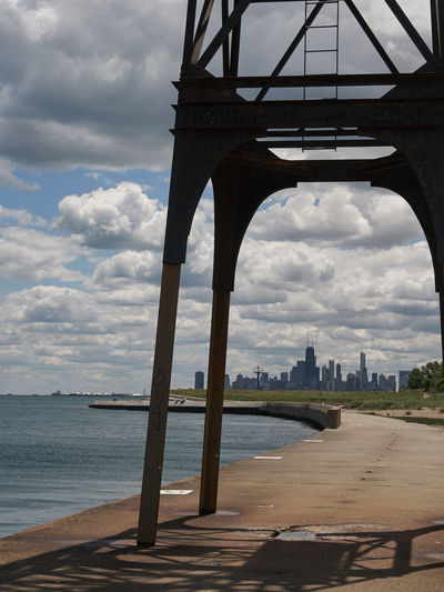 Chicago skyline Architecture Building Exterior Built Structure Chicago Cloud - Sky Connection Day Lakefront Nature No People Outdoors Scenics Sky Travel Destinations Water