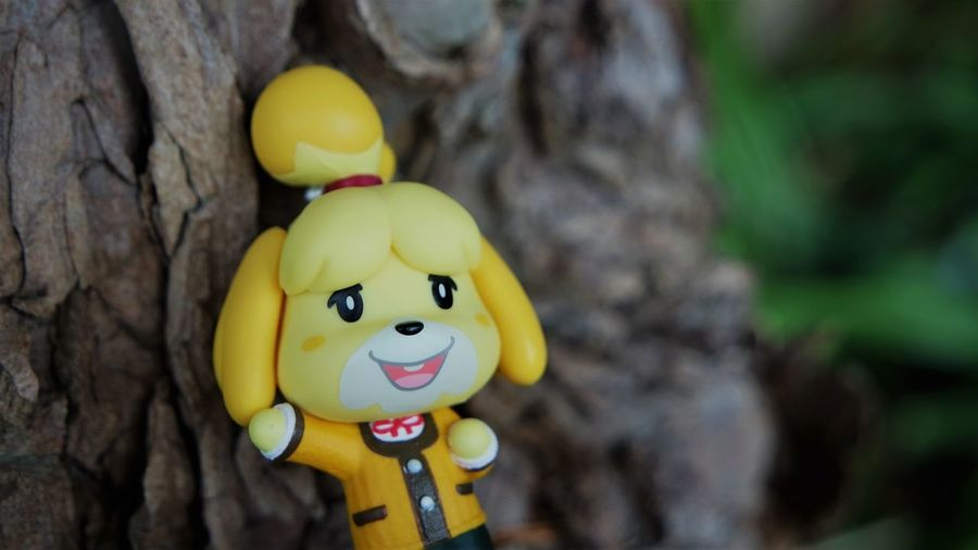 Close-up of yellow toy on tree trunk