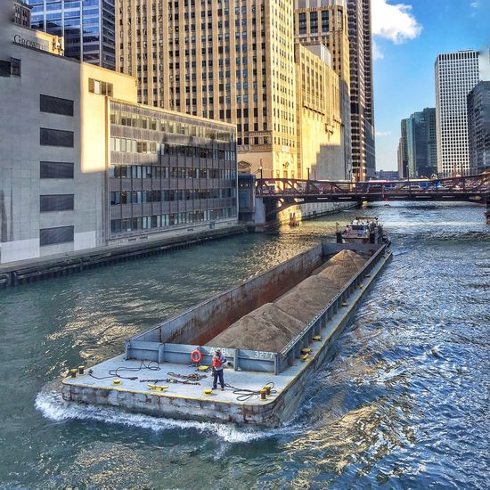 Construction Materials Construction Barge Stretching from Bridge to Bridge Chicago Riverwalk Chicago River Boatride Chicago Architecture Chicago River EyeEm Best Shots Eyeemurban Eyeemurbanshot Eyeemarchitecture Eyeemchicago Eyeemgetty Picture Pictureoftheday IPhone Amateur Photography Hdr_Collection Snappseed