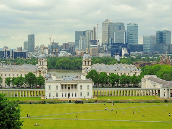 EyeEm LOST IN London Greenwich Park Greenwich Observatory Observation Point Architecture Building Exterior City Cityscape Cloud - Sky Day Grass Park Sky Travel Destinations Tree