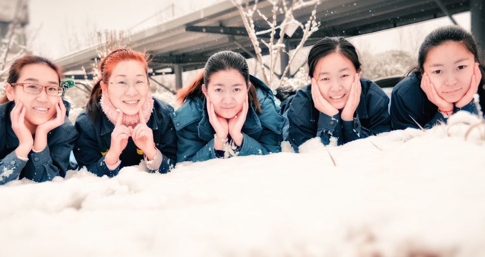 The snow elves Young Adult Women Day Group Of People Business Finance And Industry Cheerful Togetherness Portrait Occupation Friendship People Winter Adult Smiling Young Women Human Body Part Human Hand Teamwork Outdoors Crowd