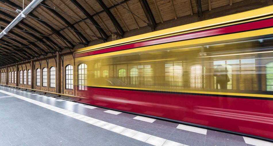 Blurred Motion Of Train Leaving Platform