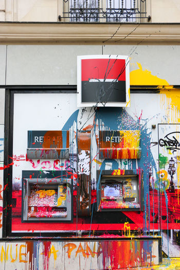 Protests in France. Architecture Art Bank Building Building Exterior Built Structure Day Graffiti Human Representation Multi Colored Protest Société Générale