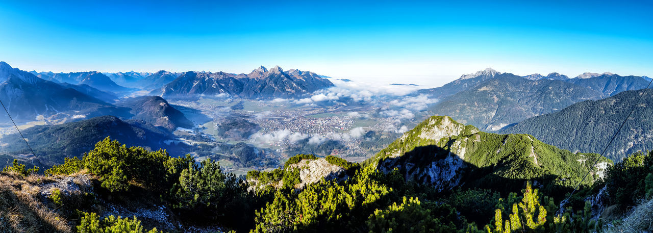 Panorama from mount Zunterkopf Scenics - Nature Mountain Beauty In Nature Sky Plant Mountain Range Tree Environment Tranquil Scene Tranquility Landscape Nature No People Snow Idyllic Non-urban Scene Outdoors Blue Day Snowcapped Mountain Mountain Peak Panorama Autumn Tyrol Austria Stay Out