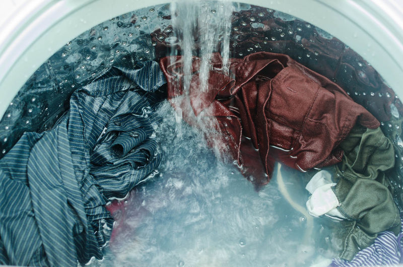 Laundry Machine Washing Clean Clothes Dirty Open Wash Washer Water Wet