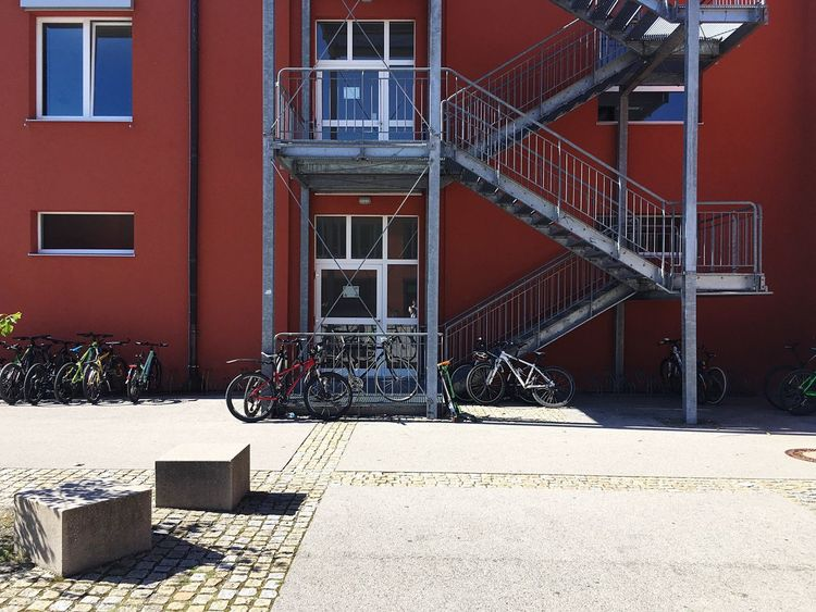Architecture Built Structure Bavarian School Bad Tölz Gymnasium Bad Tölz School Bavarian School Fire Escape Emergency Exit Emergency Stairs Fire Stairs Bavarian Architecture Stairs