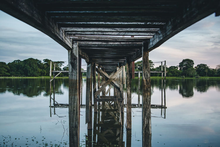 Below the pier next to our pousada. Architecture Bridge - Man Made Structure Built Structure Cloud - Sky Connection Day Jetty Jungle Lake Lake View Nature No People Outdoors Pier Reflection River Sky Stripes Pattern Transportation Tree Underneath Water Waterfront Wood Wood - Material BYOPaper! EyeEm Selects EyeEmNewHere Visual Creativity The Creative - 2018 EyeEm Awards