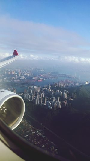 Skyscrapers. II Aerial Shot Skyskrapers Plane Engine City Life Harbour View FromAbove🌎 Cloudes Angle Sky Distance Atmosphere Photography LGG3 HongKong