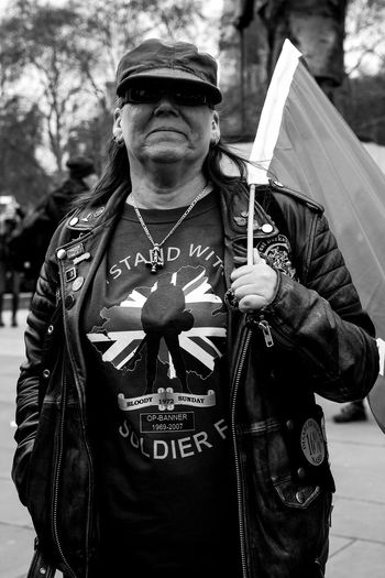 Rolling Thunder motorcyclists and retired soldiers descend on Parliament Square in London to protest at the decision to charge Soldier F over Bloody Sunday. One Person Front View Real People Lifestyles Waist Up Leisure Activity Men Standing Portrait