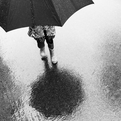 Morning walk under heavy clouds. Umbrella Rain Walk Umeå Sweden