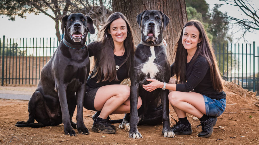 Portrait of smiling sisters with dog crouching on footpath against trees