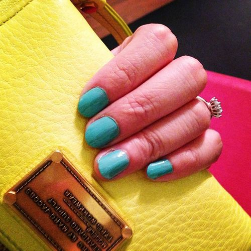 Nails got all dressed for Summer ! Tealgreen Loreal Marcbymarjacobs mustardyellow