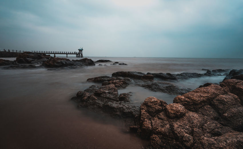 qi ao Water Sea Sky Horizon Over Water Rock Rock - Object Horizon Scenics - Nature Solid Beauty In Nature Cloud - Sky Beach Land Tranquil Scene Nature Tranquility Motion Long Exposure No People Outdoors