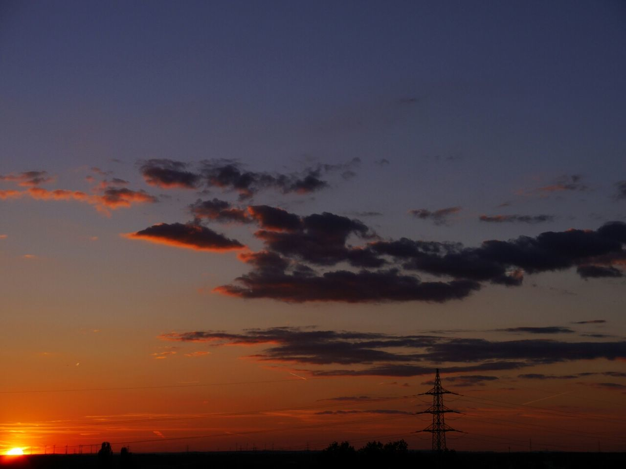 sunset, silhouette, nature, sky, beauty in nature, scenics, no people, electricity pylon, tranquility, tranquil scene, cloud - sky, cable, outdoors, electricity, technology