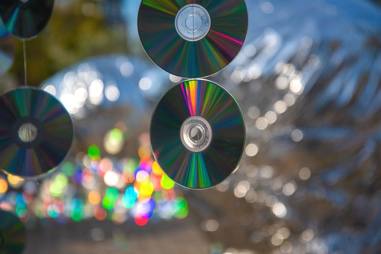 Close-up of compact discs hanging