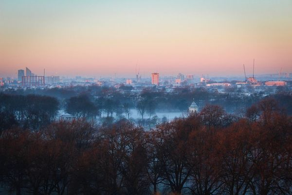 City Built Structure Tree Architecture Building Exterior No People Cityscape Sunset Sky Outdoors Nature Water Day London Eastlondon VictoriaPark Foggy Morning