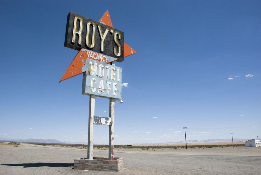 Amboy Architecture Blue Cafe California Clear Sky Day Famous Place Motel No People Old Style Outdoors Retro Road Sign Roadtrip Sign Sky USA Vacancy