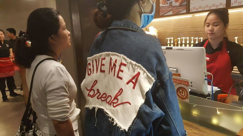 Jacket and slogan in cafe in Da Nang, Vietnam. Young Women Indoors  Fashion Style Cafés Lifestyle Slogans Jackets Đà Nẵng Vietnam