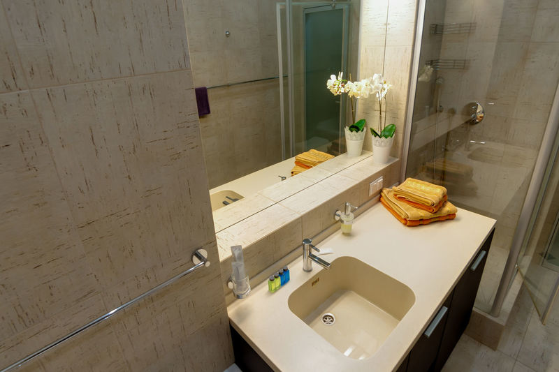 Indoors  Sink Bathroom Wood - Material Domestic Bathroom No People Domestic Room Household Equipment Hygiene Table High Angle View Home Still Life Flower Flooring Flowering Plant Faucet Mirror Plant Bathroom Sink