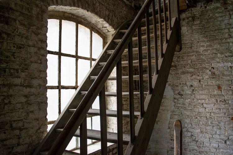 Staircase seen through window