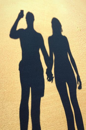 Shadows Shadow Focus On Shadow Sunlight Long Shadow - Shadow Silhouette Togetherness Men Love Sand Real People Friendship Outdoors People Day