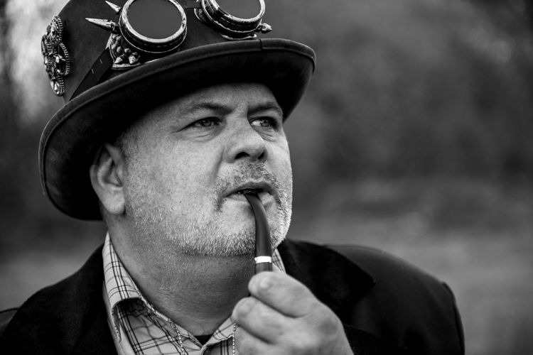 Mr Mario Roels Blackandwhite Black And White Black & White Blackandwhite Photography Steampunk Cosplay Adults Only Close-up Day EyeEm Best Shots EyeEmNewHere Enjoying Life EyeEm Selects EyeEm Gallery First Eyeem Photo Hanging Out Lifestyles Men Portrait Headshot Authority Politics Men Law Politics And Government Close-up Smoking Bad Habit Smoking - Activity Pipe - Smoking Pipe The Portraitist - 2019 EyeEm Awards