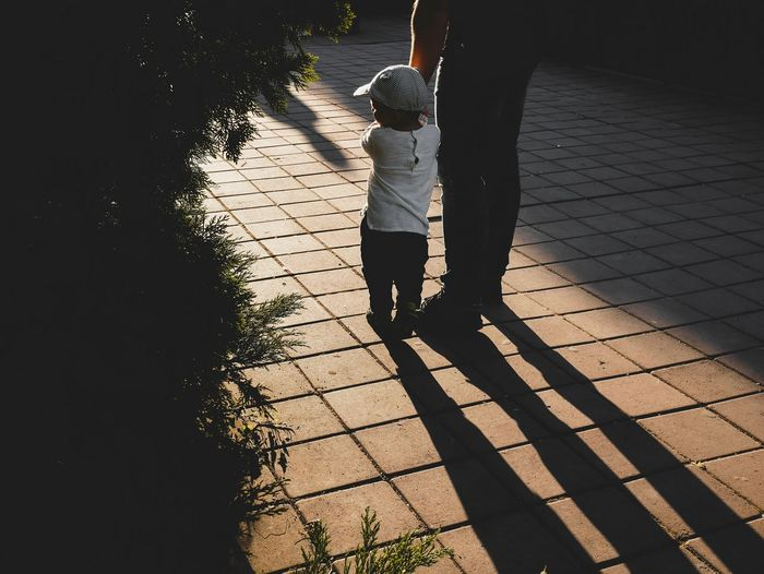 little boy holds his dad's hand in the backlight at sunset Silhouette Silhouette_collection Father Father & Son Fatherhood Moments Fatherhood  Father's Day Fathersday Parenting Only Boys Dad And Son Daddysboy Spring Time Picture Of The Day Fatherhood  Sunset Silhouettes Childhood Shadow Child Standing Full Length Casual Clothing Focus On Shadow Long Shadow - Shadow Paved Paving Stone Pavement Children Caucasian Preschooler