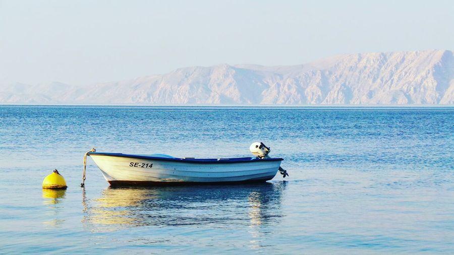 Boats in sea against mountain range