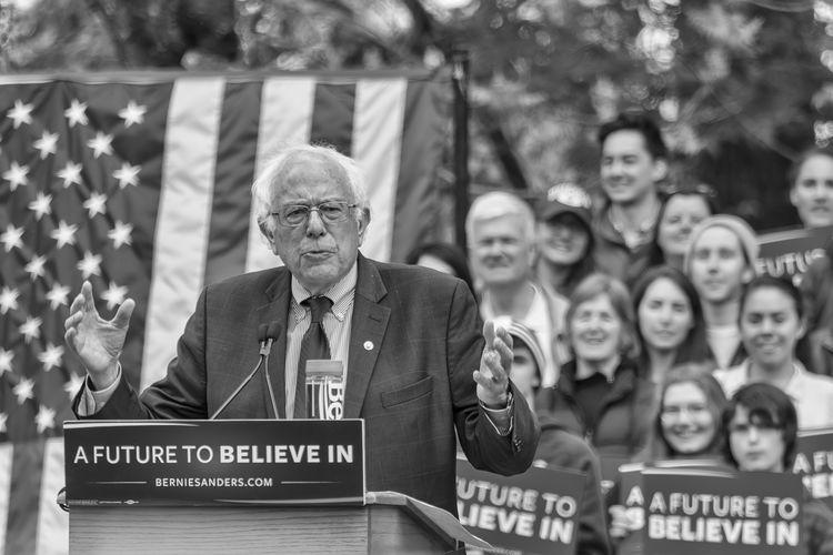 American Flag Bernie Sanders Blackandwhite Campaign Crowd Democrat Politics Presidential Election 2016 Rally