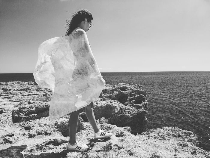 Cyprus Black And White Horizontal Water Beach One Person Freshness Addidas Outdoors Day