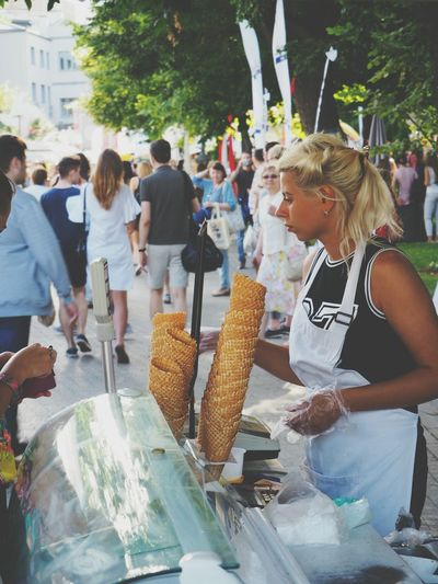 ice cream seller Adult Market Day Lifestyles