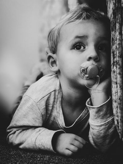 Day Dreaming Bubble Wand Child Portrait Childhood Girls Headshot Front View Close-up Preschooler Innocence Babyhood One Baby Boy Only Pacifier Toddler