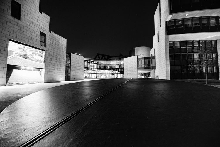 Landtag of NRW in Duesseldorf at night in B&W B&w Photography Black And White Photography #abstract #clouds #sky #lines #light Built Structure Architecture Building Exterior Building City Night No People Outdoors Modern Empty Office Building Exterior Nature Architectural Column Illuminated Curve Sport Sky Flooring Arts Culture And Entertainment Parking Garage