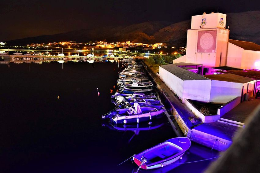 Night Sea Travel Destinations Illuminated Outdoors Water Vacations Cityscape Luxury City Architecture Nautical Vessel No People Scenics Luxury Hotel Harbor Building Exterior Sky Pag Croatia Dock Hotel Reception Idyllic Marina Remote Commercial Dock Tranquility Crane - Construction Machinery Container Ship Shipyard