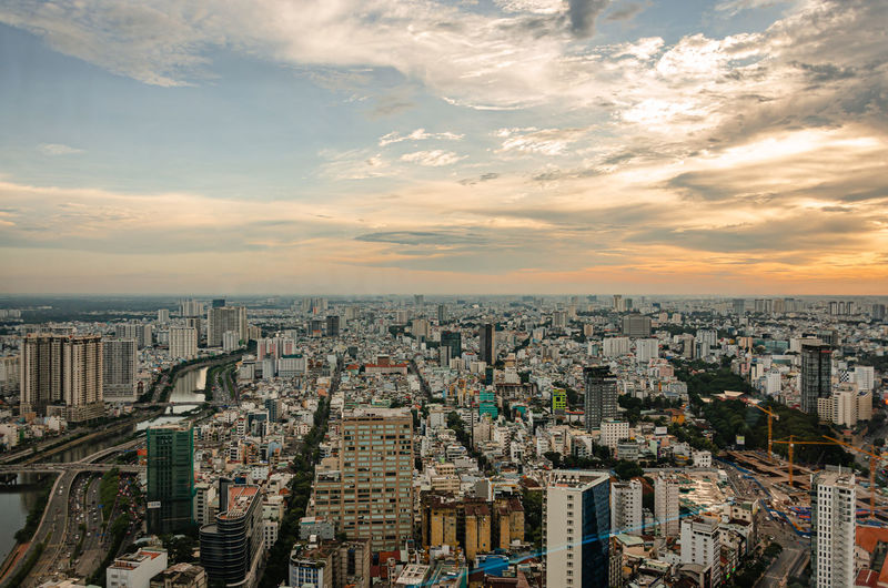 Sunset view by saigon skydeck at ho chi minh