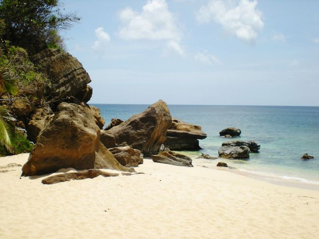 Relaxing Beach Beautiful Day Rocks Water Taking Photos Enjoying Life Grenada West Indies