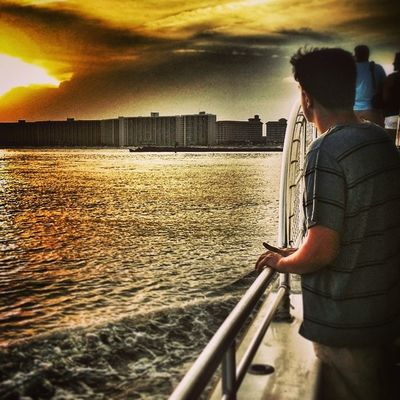 Bret at sunset on the boat. Love this picture. Sunsetcruise Vaca Dowehavetogohome