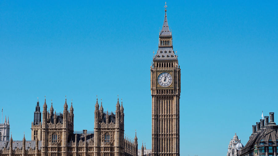 Palace of Westminster, Westminster Blue Sky Clear Sky Parliament Building Building Exterior Architecture No People England, UK United Kingdom London Palace Of Westminster Clock Tower Big Ben